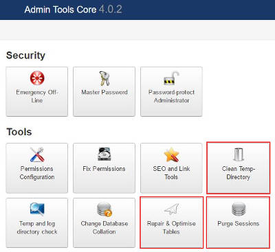 admin tools clean cache and sessions