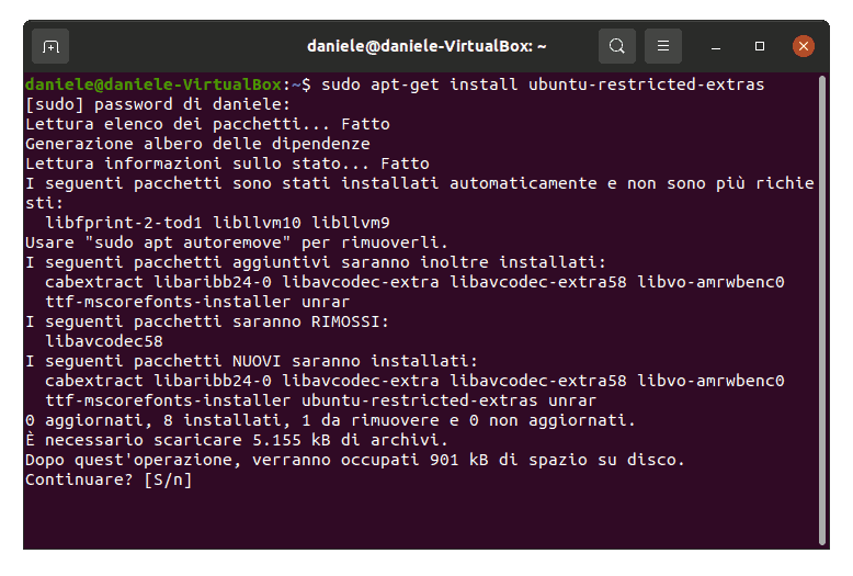 installa ubuntu restricted extra da terminale