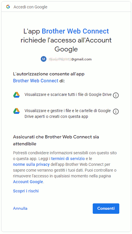brother web connect consenti accesso