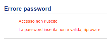 errore password