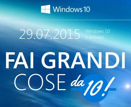 windows 10 arrivato