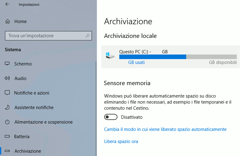 Windows 10 - Cancellare la cartella Windows.old