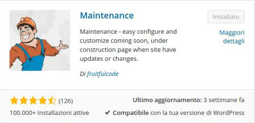 WordPress - Maintenance mode